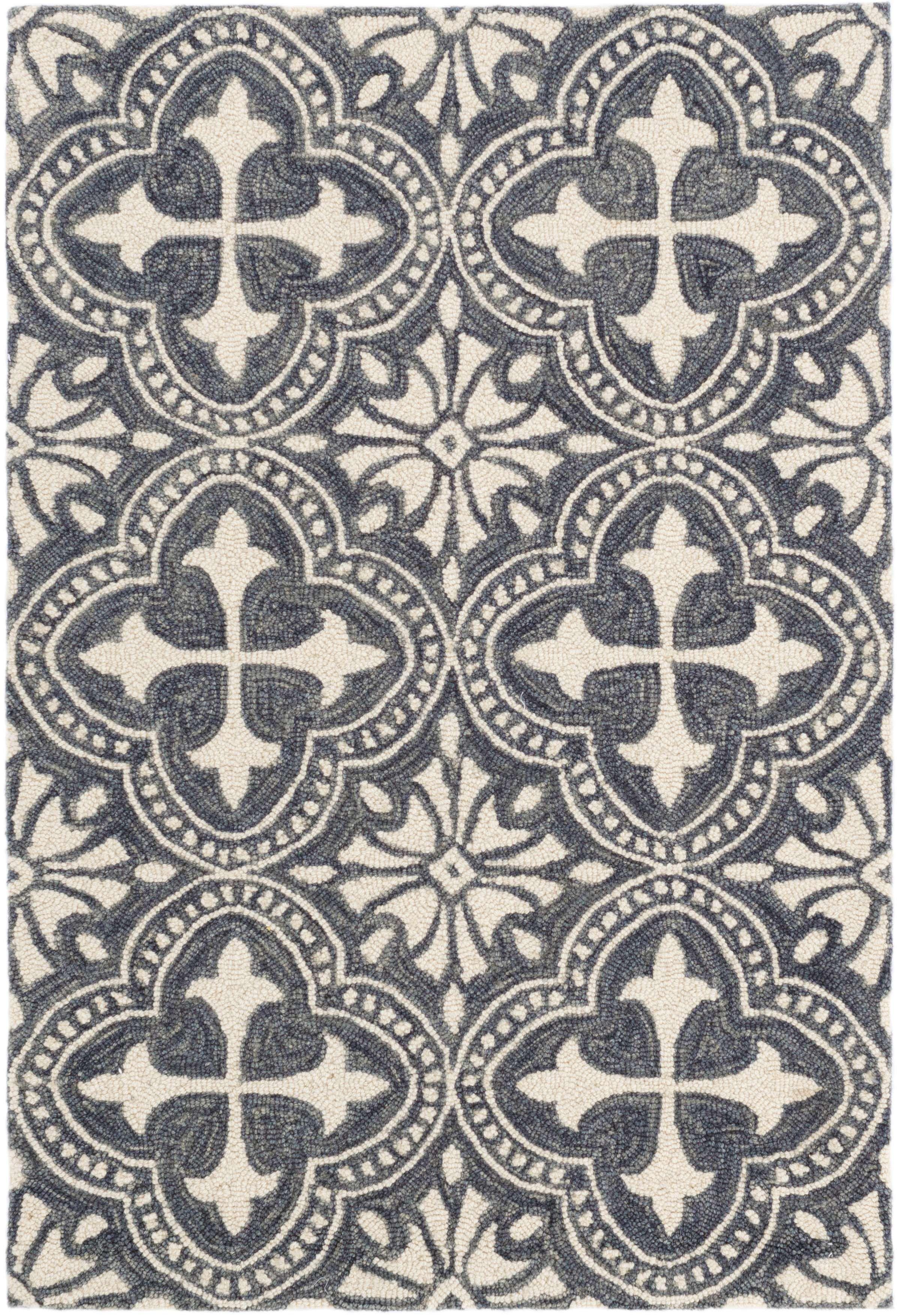 Vintage Tile Blue Micro Hooked Wool Rug Dash Amp Albert