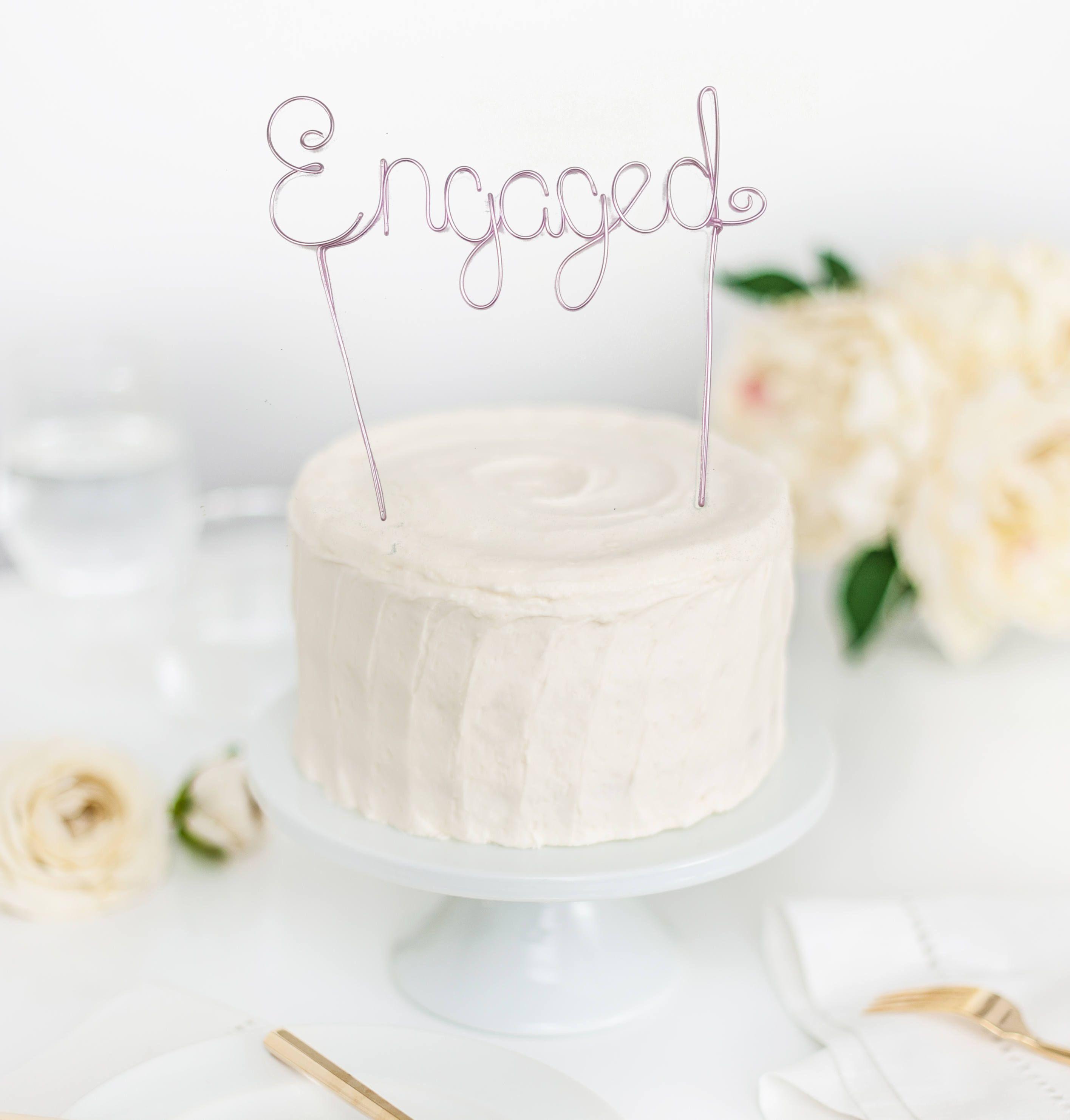 Engaged Cake Topper - Engaged Wedding Cake - Wedding Cake Topper ...