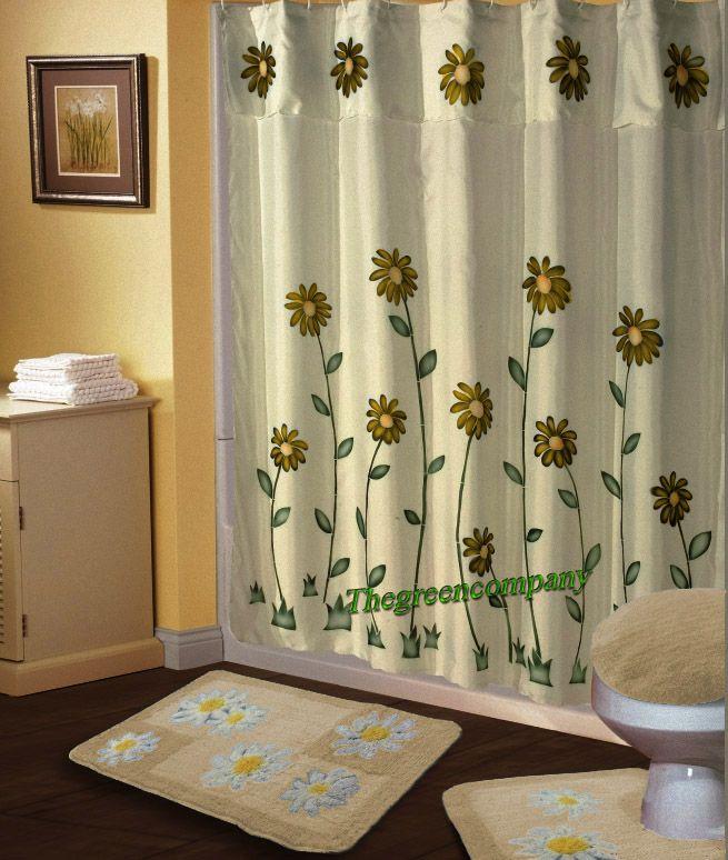 Shower Curtains | 6PC Beige DAISY BATHROOM SHOWER CURTAIN+RUG/MAT ...