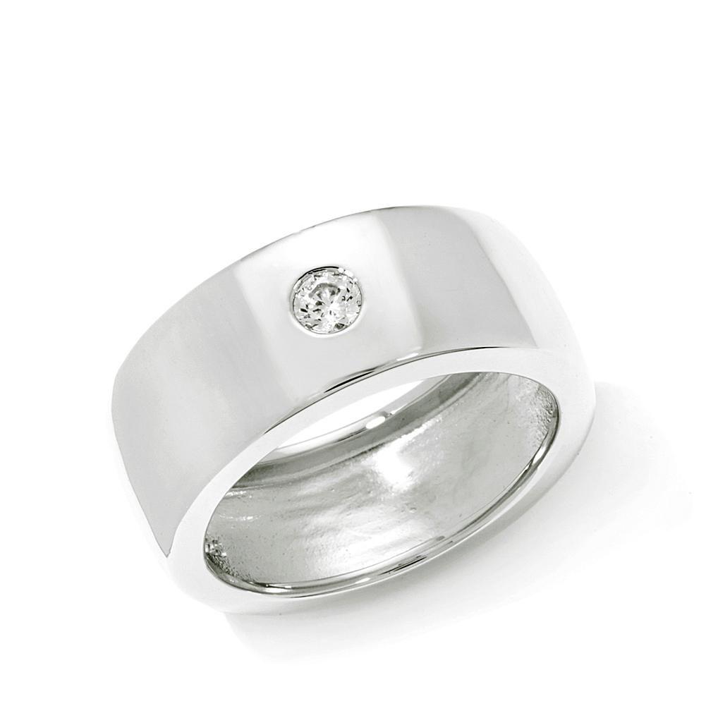 Unisex Absolute™ 3mm Single-Stone Round Burnish-Set Ring - Metallic