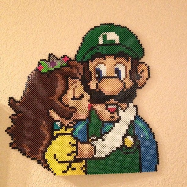 Luigi and Princess Daisy perler bead art by searching4pow