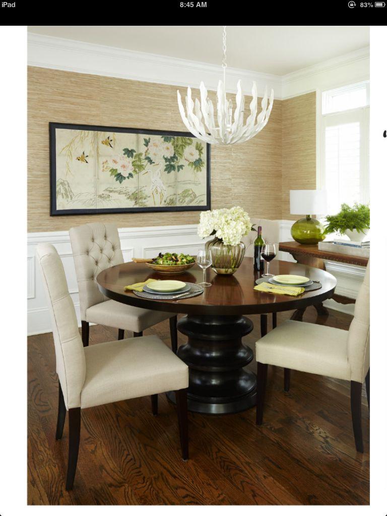 Grasscloth wallpaper, wainscoting, furniture placement