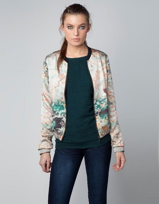 Women Fashion Landscape Printing Zipper Bomber Jackets Ladies ...