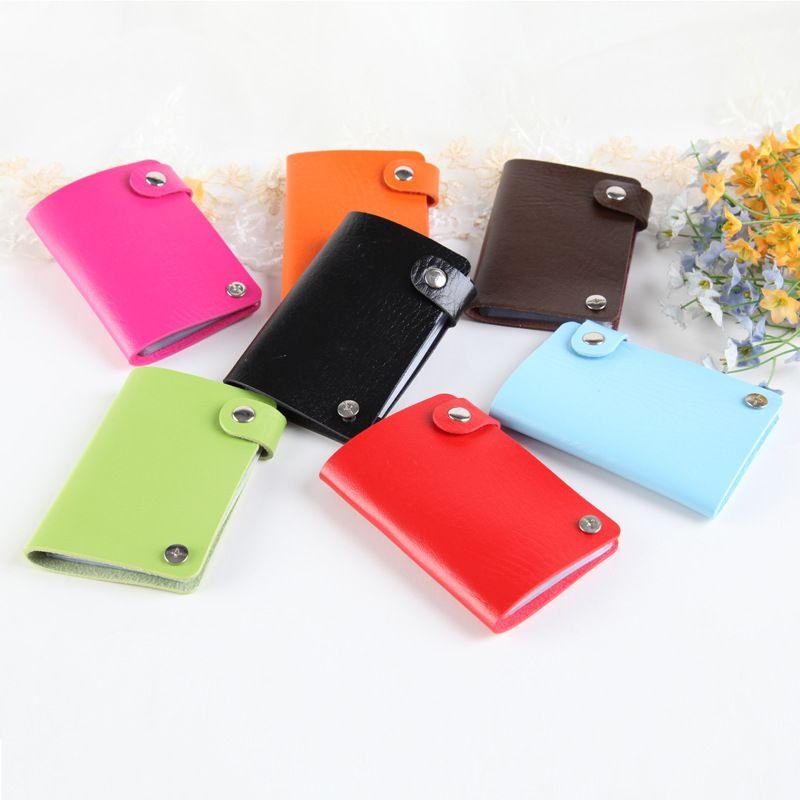Womens Men\'s Leather Credit Card Holder Case 180 degree rotation ...