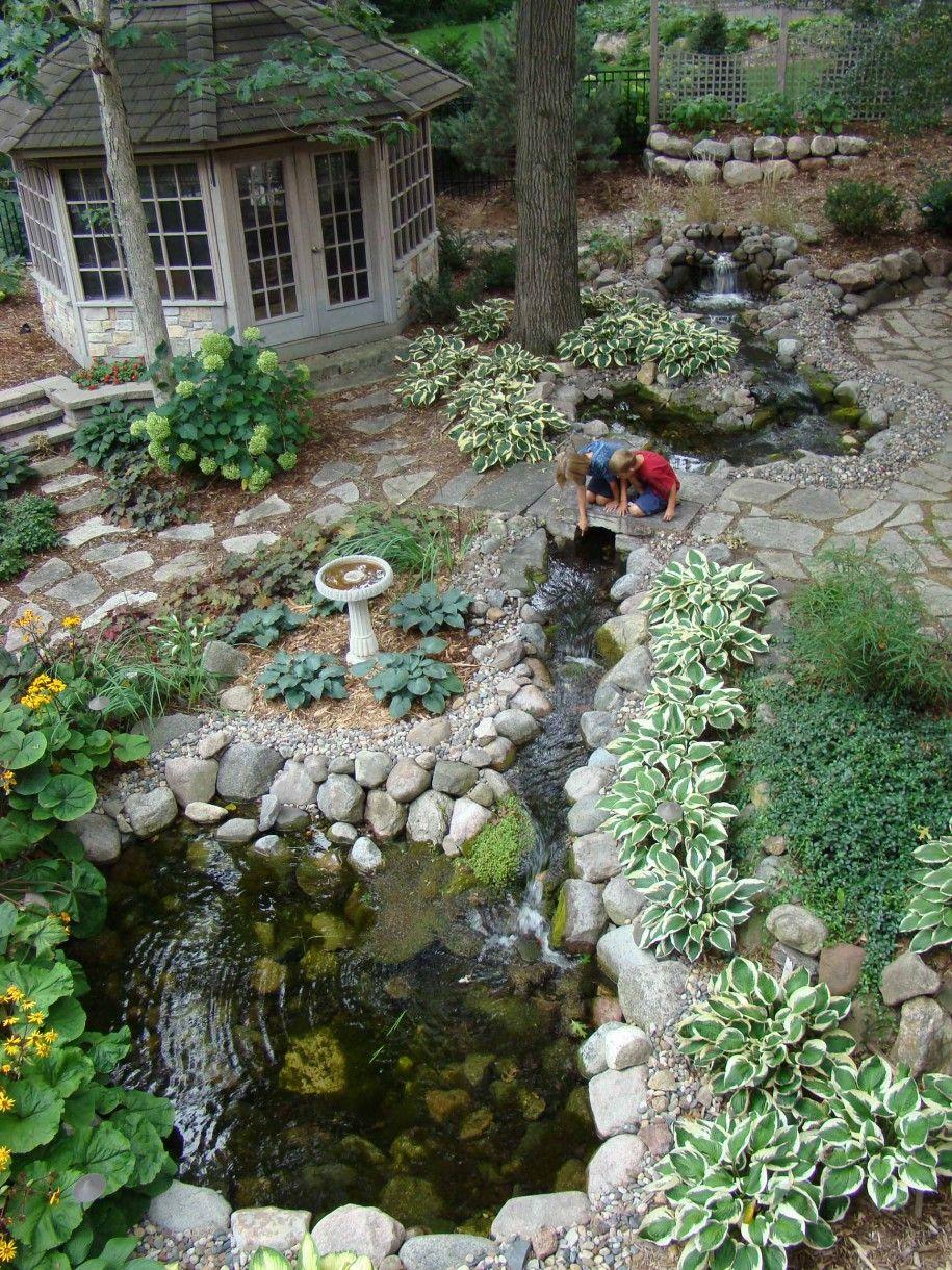 birdbath with stone walkway and stone bridge for traditional