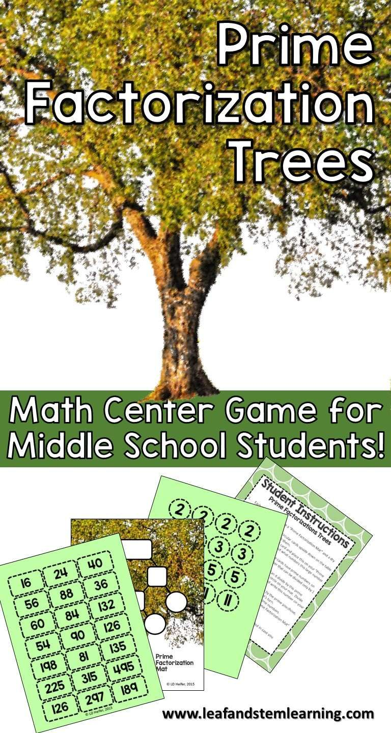 A fun game to use for prime factorization for small group, anchor stations, or early finishers at the middle school level!  It's simple to get ready and easy to play, but with 21 different numbers to factor at varying levels of difficulty, this center will be a go-to in your classroom.  This 4 star rated resource is only $1.50 at Leaf and STEM Learning on TpT!