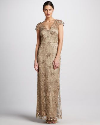 Lace and Sequined Double V Neck Gown by Kay Unger New York at Neiman