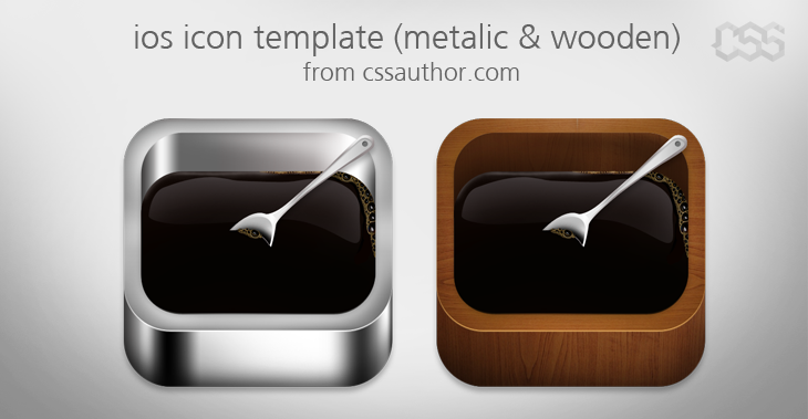 Beautiful ios Apple Icon Template Metalic and Wooden