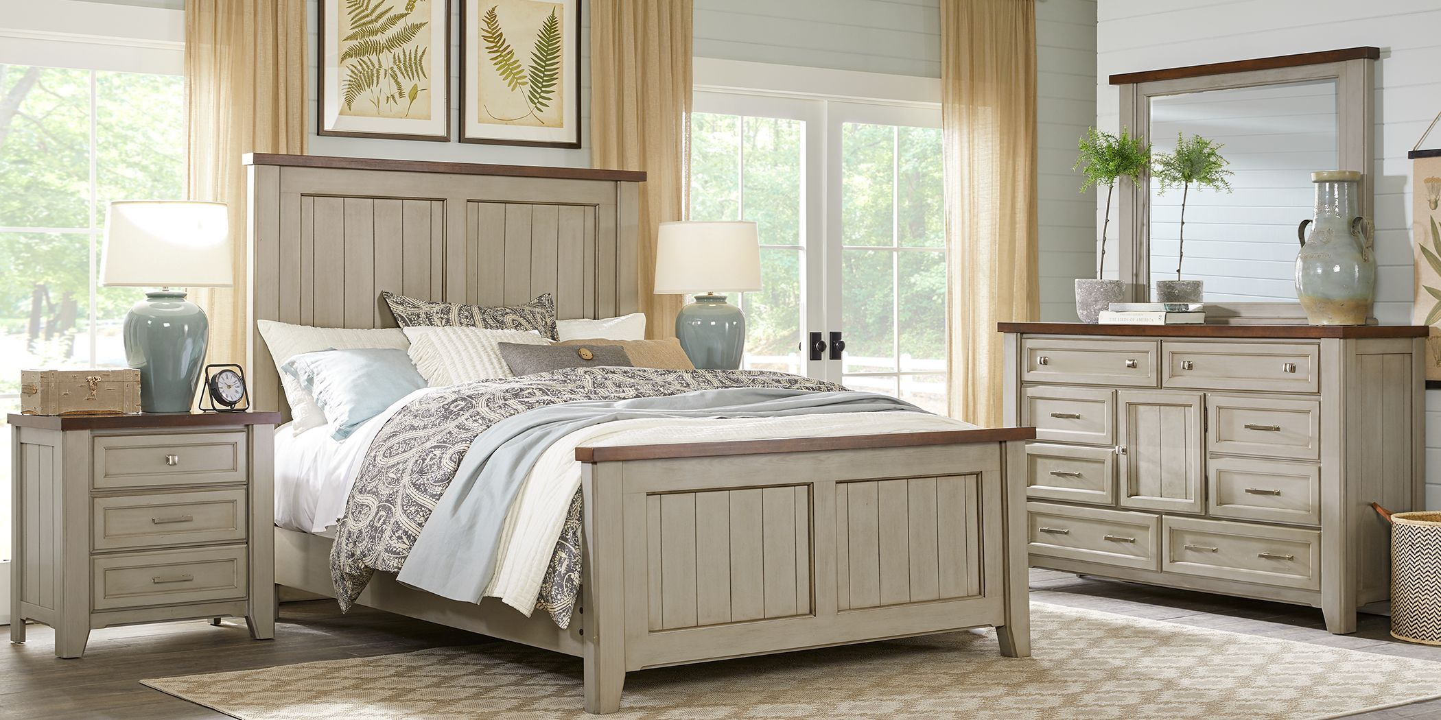 Country Grove Gray 7 Pc King Panel Bedroom | Bedroom furniture sets, Bedroom furniture for sale, Bedroom panel