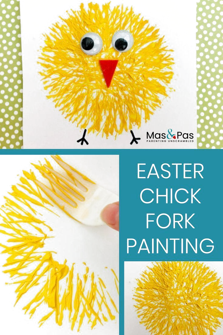 What to Put in Adult Easter Egg Hunt 2020 | Get Your Holiday On -  Make these fab Easter chicks using a fork and some paints! Fork painting is one of the quickest and - #adult #easter #Egg #Holiday #Hunt #IndianPaintings #OilPaintings #Paintings #put