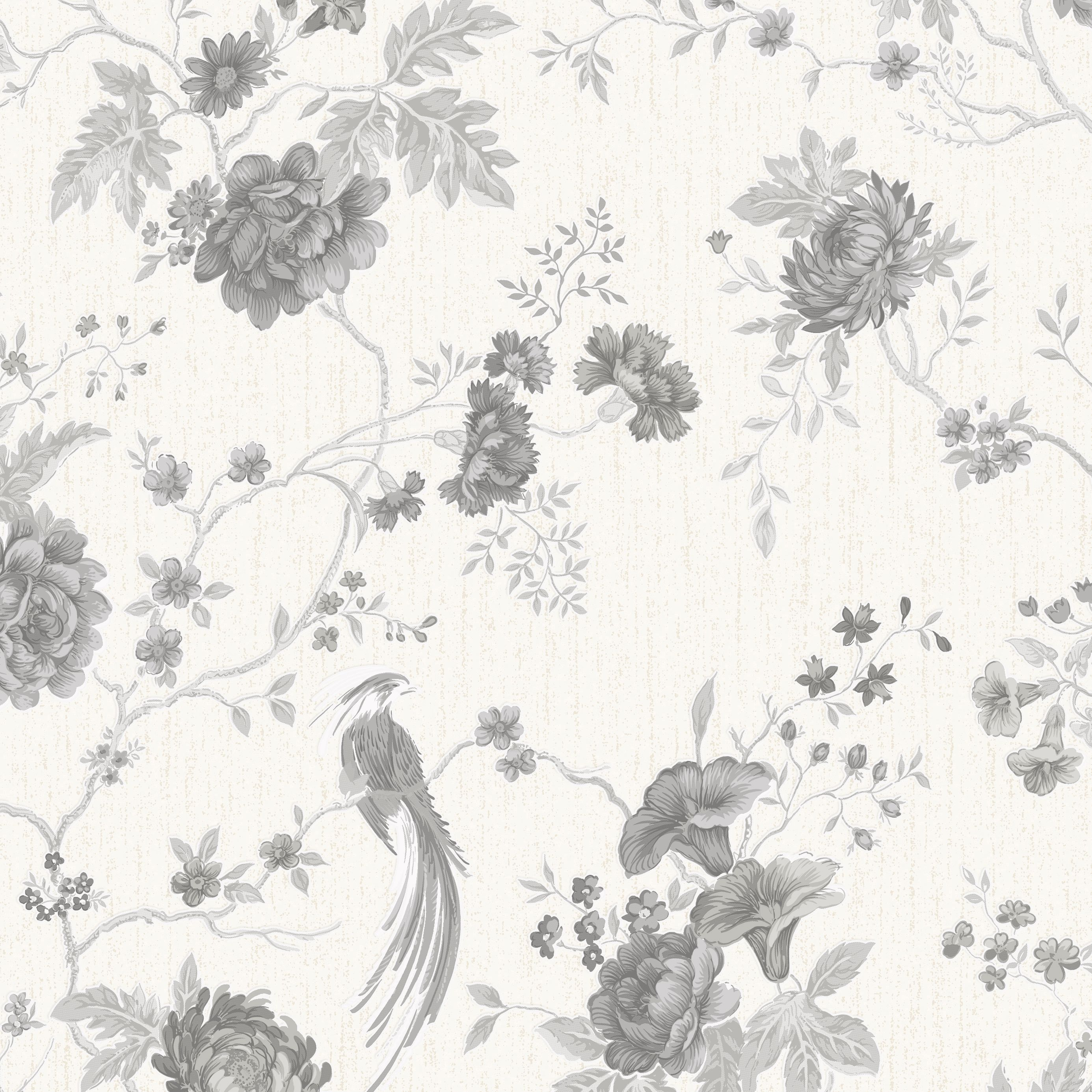 Exotica+White+&+Silver+Floral+&+Birds+Vinyl+Wallpaper+