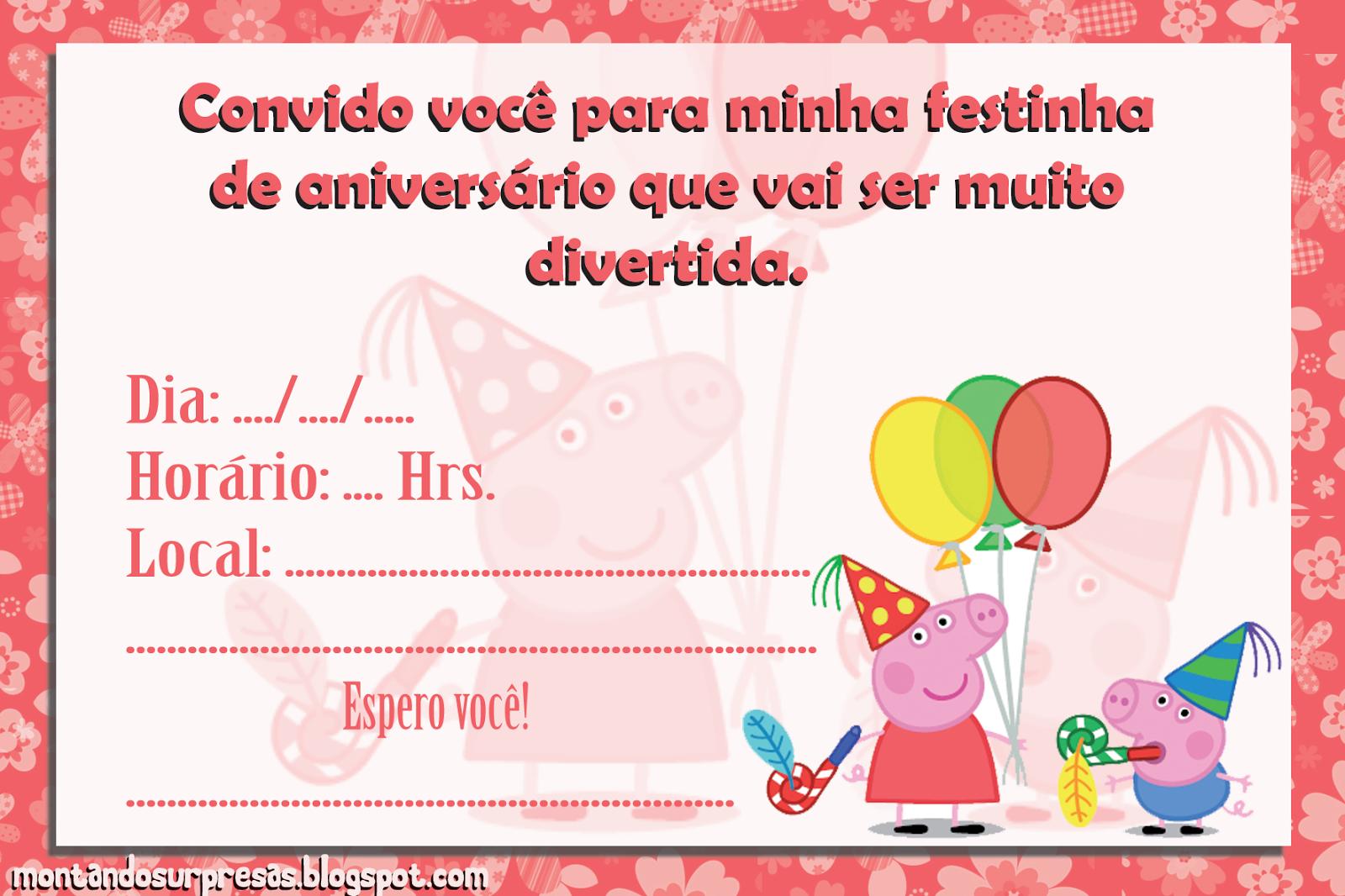 Montando Surpresas: Convite da Peppa Pig gratuito para download