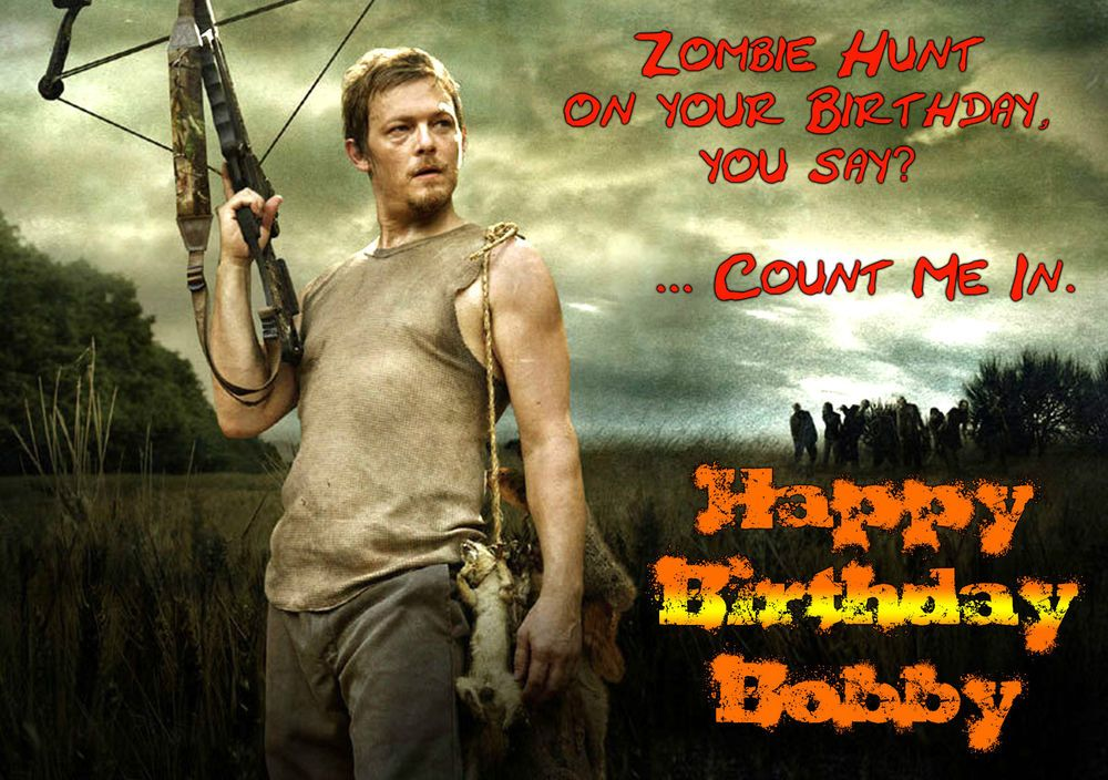 Walking Dead Darryl Dixon Personalised Happy Birthday Xmas Greeting