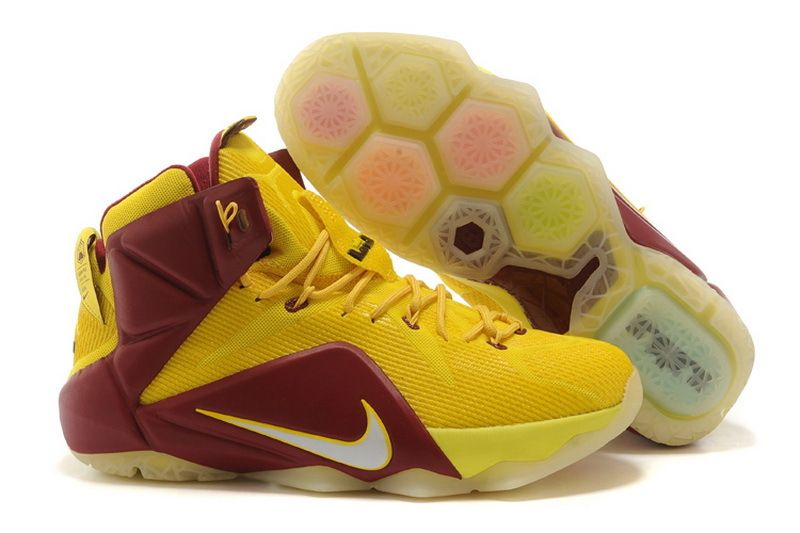 9ea23b0fff7a WMNS LeBron 12 GS Cleveland Cavs For6iven Away Sonic Yellow Wine Red  Metallic Silver