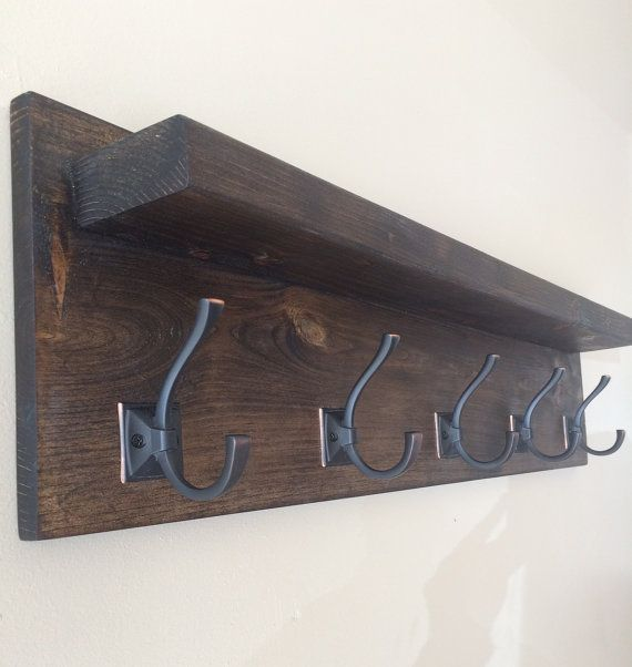 """$90, 36"""" long, double hooks (5) the hooks look nicer but the shelf is pretty short. Rustic Wood Coat Rack by RollinsRusticDesigns on Etsy"""