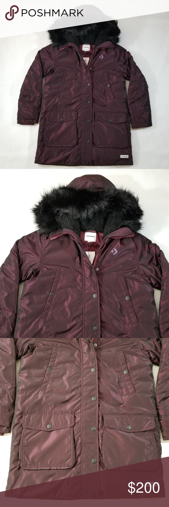ad61472c65b6 Converse Sideline Down Puffer Parka Jacket Womens Converse Sideline Down  Puffer Parka Jacket Color  Burgundy   Black Approximate Measurements   Women s Small ...