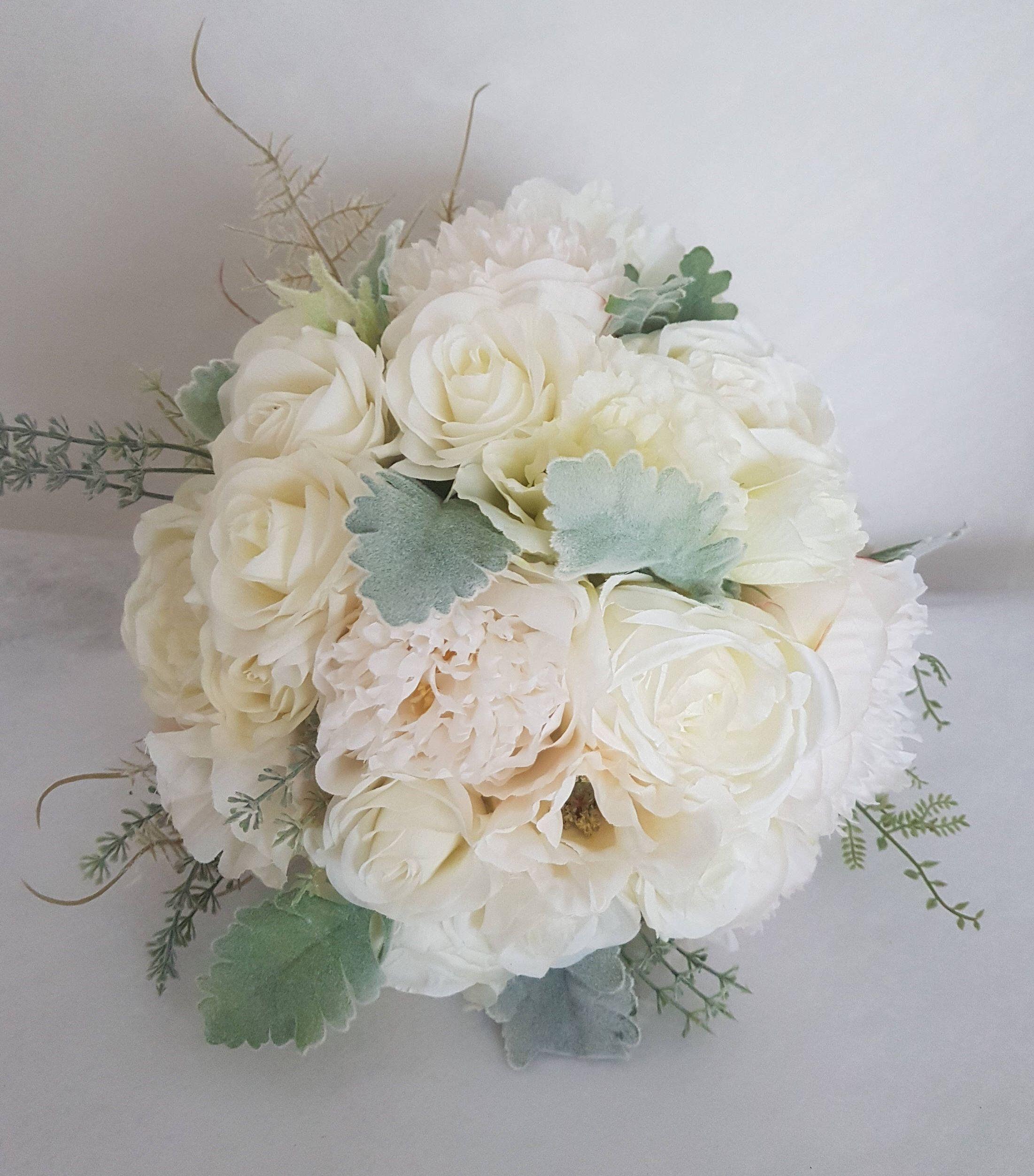 Serena White Ivory Artificial Silk Wedding Bouquet