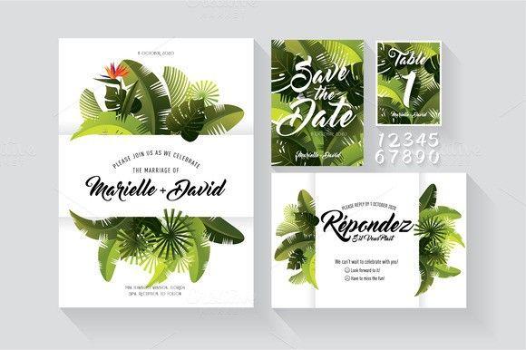 tropical wedding invite stationery