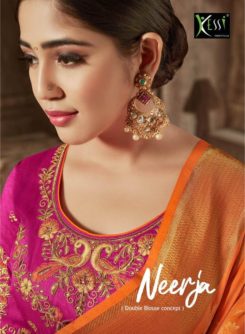 2a0250ff80 KESSI FABRICS NEERJA DESIGNER PURE JACQUARD DOLA SILK WITH EMBROIDERY WORK  HEAVY SAREES COLLECTION SURAT