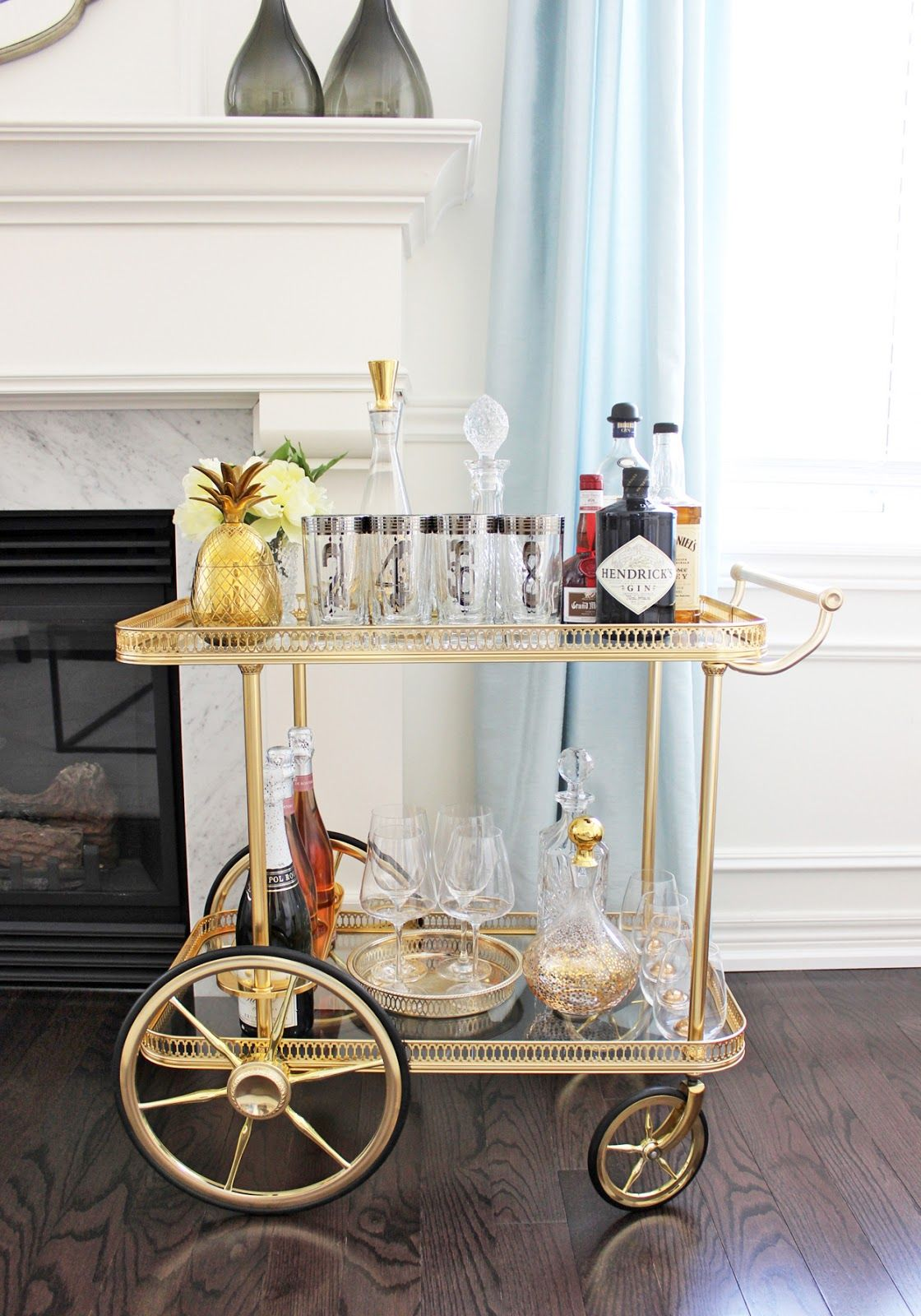 antique bar cart. AM Dolce Vita: Vintage Bar Cart Styling, Silver-rimmed Numbered Tom Collins Highball Glasses, Mid Century Mod Silver Rim Barware, Antique Q