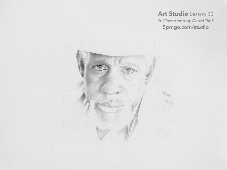 Part vi of a portrait drawn from start to finish by darrel tank for the art studio online classes