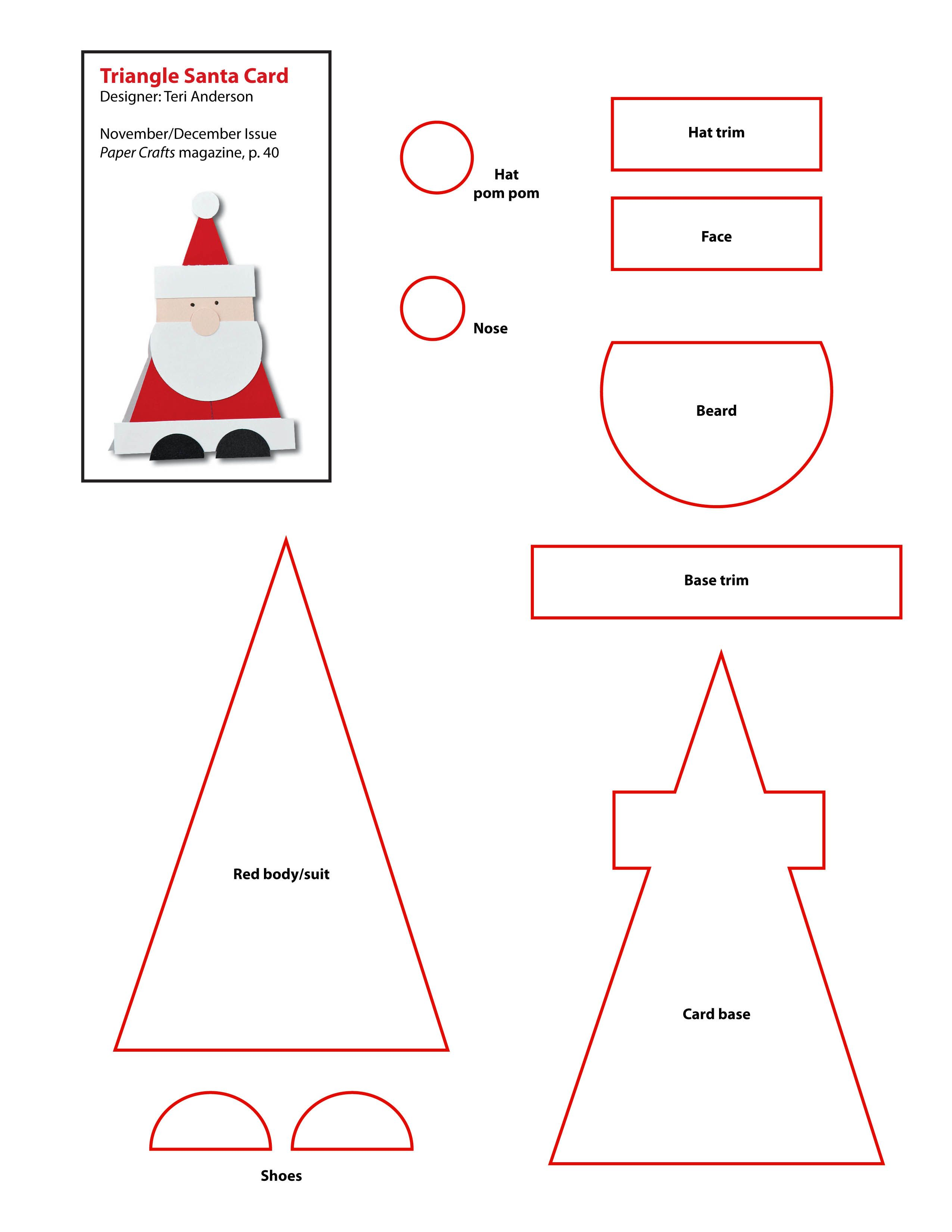 Pin by Dominique Snyman on CUTE CARDS | Pinterest | Santa, Template ...