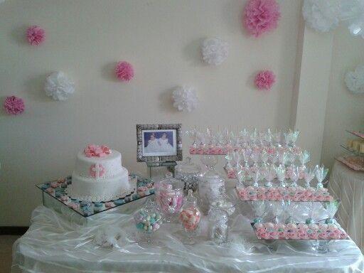 Decoraci n de mesa para bautizo dulces y decoraciones pinterest party time - Arreglos de mesa para bautizo ...
