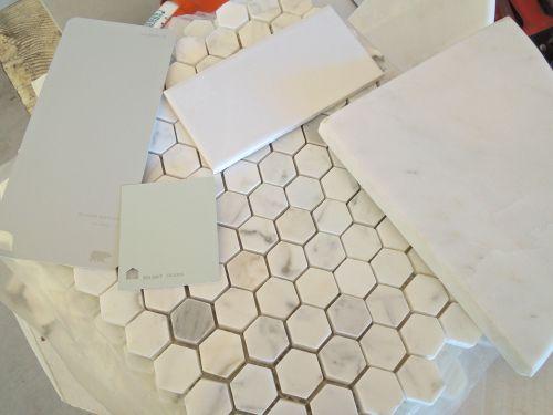Honeycomb Marble Floors Subway Tile Shower Grey Cabinets