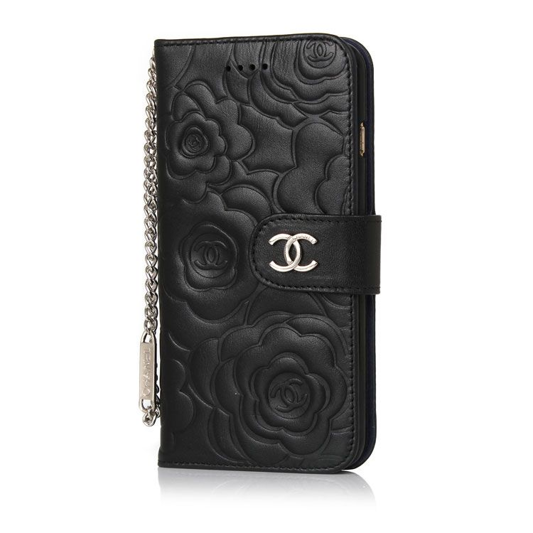 61a5a96bd2116a Camellia Leather Wallet Case Chanel iPhone8/7/6S/6/Plus Black ...