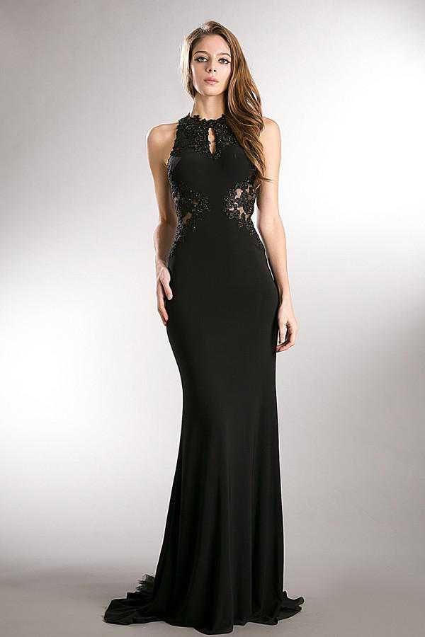 Cinderella Divine - 8744 Beaded Illusion Sheath Dress