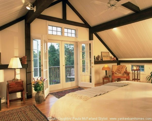 Love this!!  Post & Beam Master Bedroom Yankee Barn Homes
