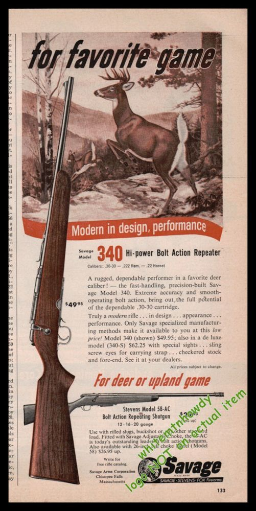 1955 SAVAGE Model 340 Bolt Action Repeating Rifle PRINT AD