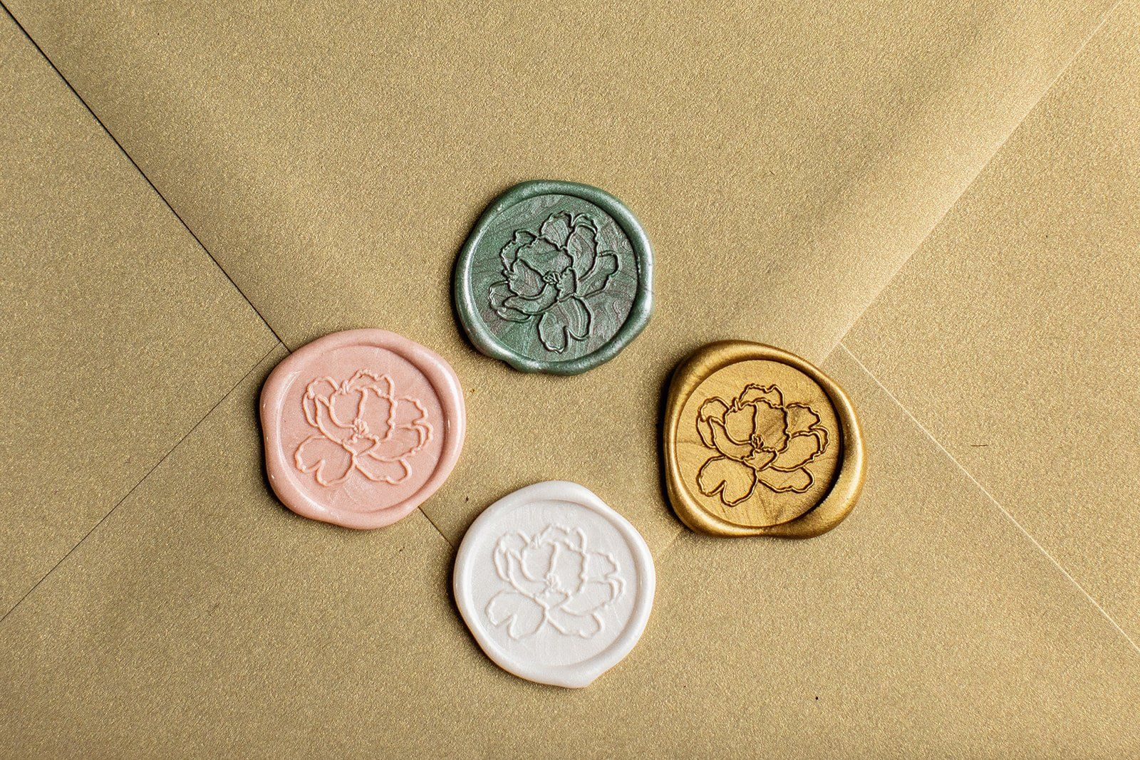 DIY Wax Seal Kit PLUS Envelope Flower Wax Seal with a White Metallic Mailing Envelope Self Adhesive Wax Seals