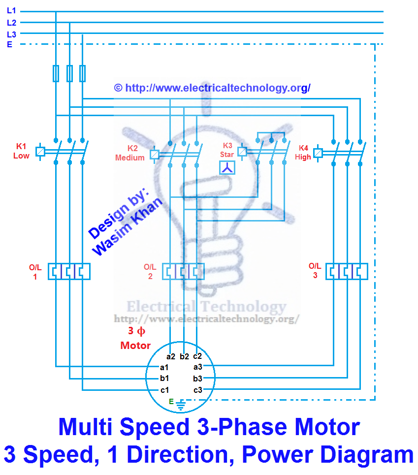 3 phase motor 3 spped 1 direction power diagram electronica rh pinterest ie Motor Wiring Drawing Motor Wiring Drawing