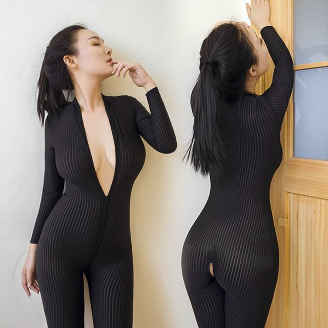 35672b701e Erotic Sexy Lingerie for Women Open Crotch Black Striped Sheer Bodystocking Bodysuit  Smooth Fiber Double Zipper Long Sleeves