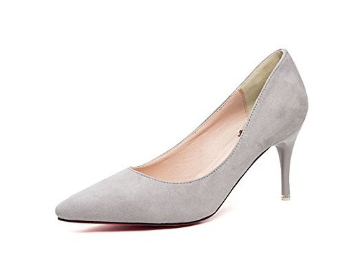 Aisun Damen Klassisch Veloursleder Pointed Toe Kitten-Heel Pumps Schwarz 39 EU bQ7qD