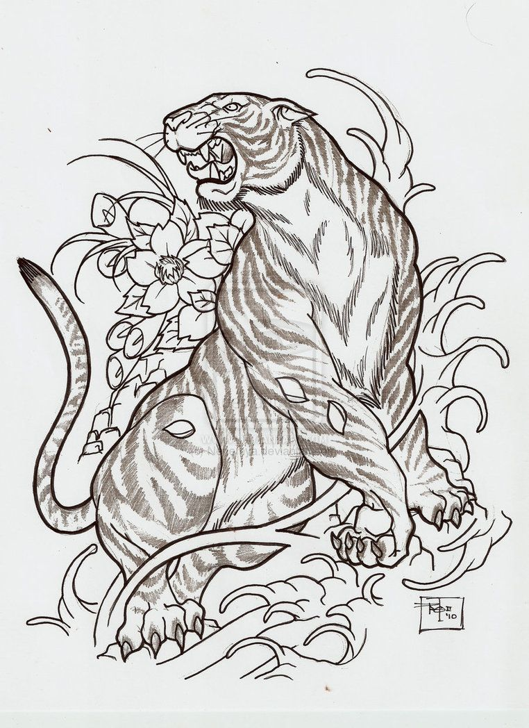 Japanese Tattoo Line Drawing : Japanese style tiger i want this done to make up the