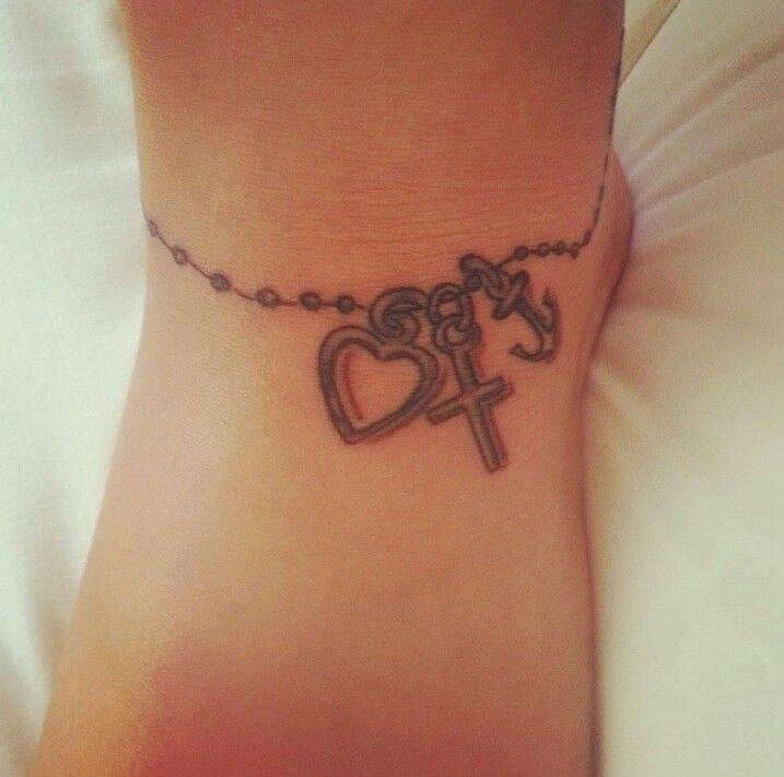 Faith Love And Hope Bracelet Tattoo On Ankle: My Tattoo, Ankle, Faith Hope Love