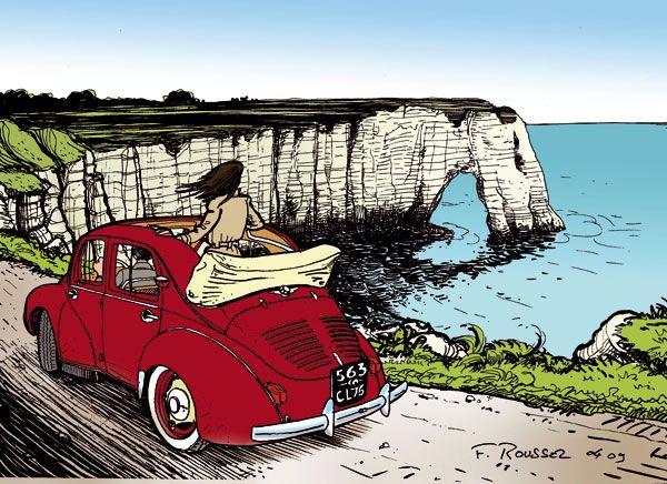 Renault 4cv les voitures dans les bandes dessinees bike illustration automobile et - Dessin vieille voiture ...