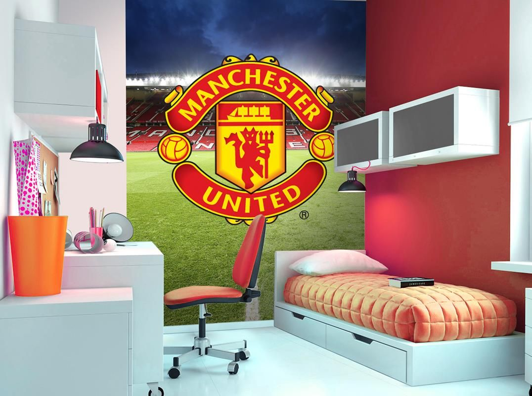 Manchester United Wall Mural Wallpaper Mural Football Children Bedroom Decor Manu Manunited Manches Boys Room Wallpaper Soccer Themed Bedroom The Unit