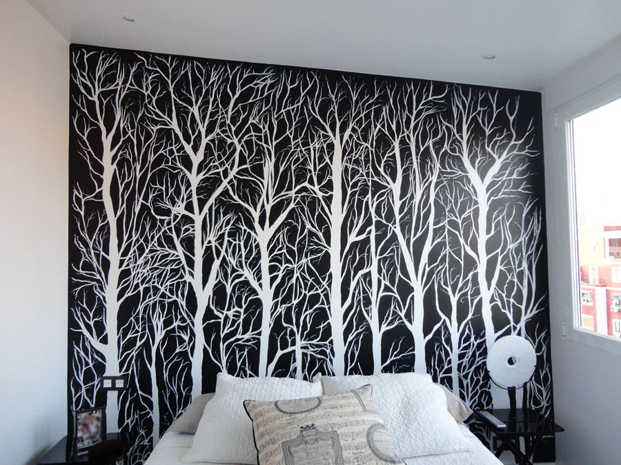 Cabeceros pintados que no ocupan espacio casa pintar papel pintado y papel mural - Pintar mural en pared ...