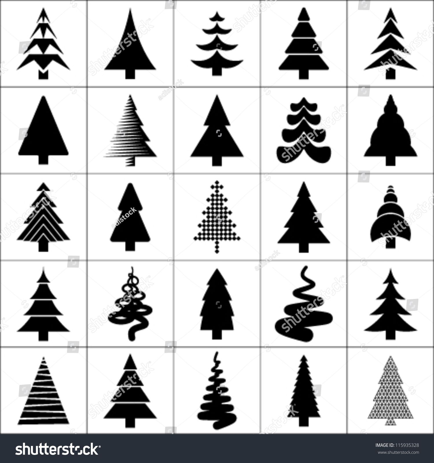 Christmas Tree Silhouette Design Vector Set Concept Tree Icon Collection Isolated On White Background Christmas Tree Silhouette Tree Icon Tree Silhouette