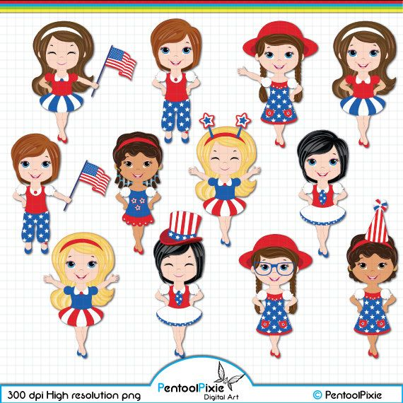 96bf9329f Fourth of July clipart Independence day clipart by PentoolPixie ...