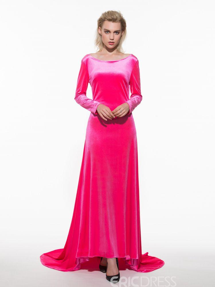 Backless plain floorlength long sleeves womens dresses