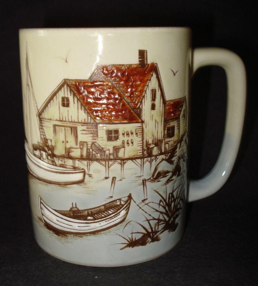 Otagiri Ceramic FISHING WHARF BOAT DOCK COFFEE MUG TEA CUP