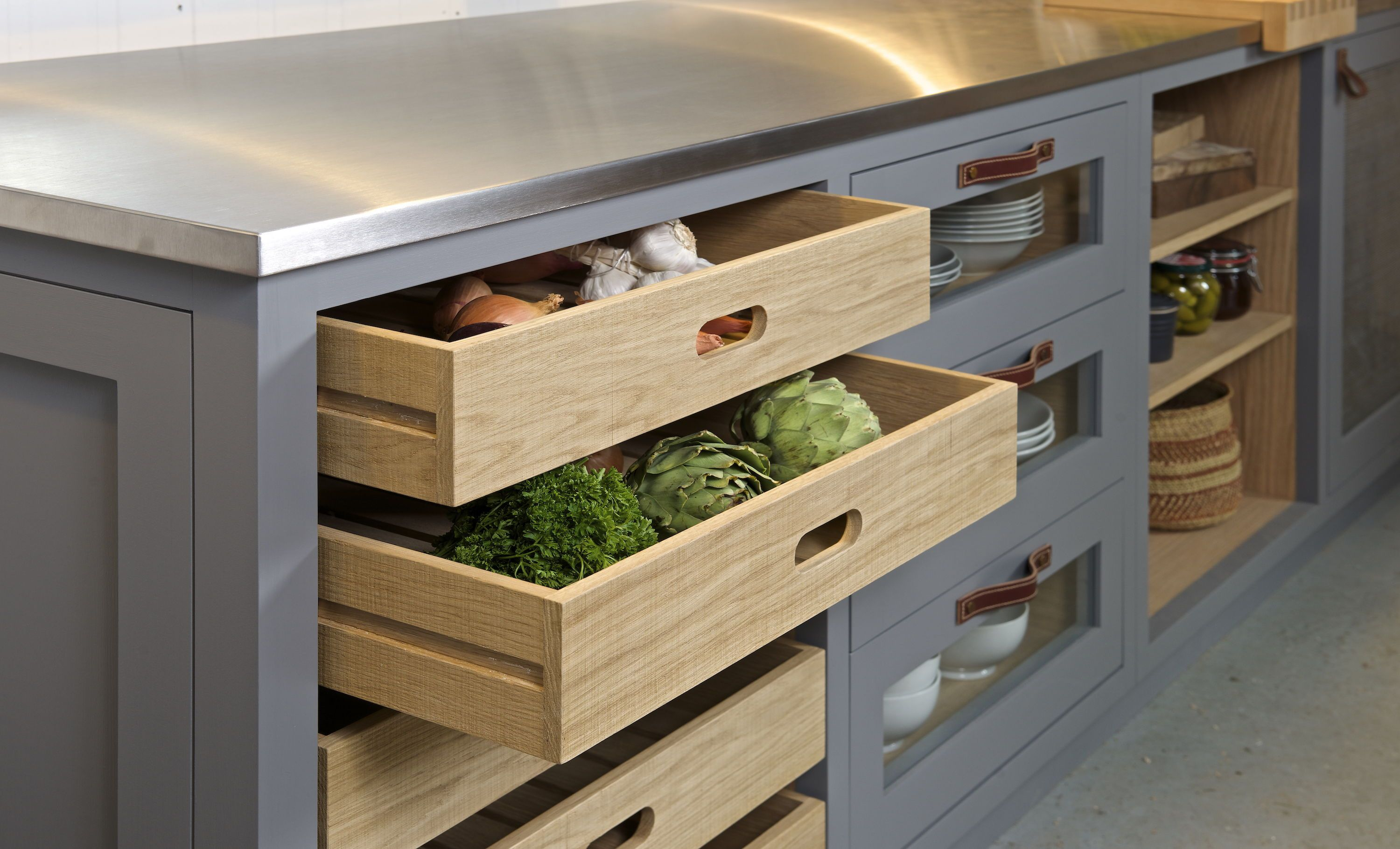 One Of Our Freestanding Kitchen Cabinets With Slatted Base Vegetable Drawers Leather Handles Shaker Style Kitchen Cabinets Bespoke Kitchen Design Wood Kitchen