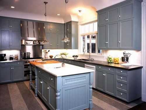 Country Kitchen Blue Cabinets & Country Kitchen Blue Cabinets | Kitchen Cabinets Colors | Grey ...
