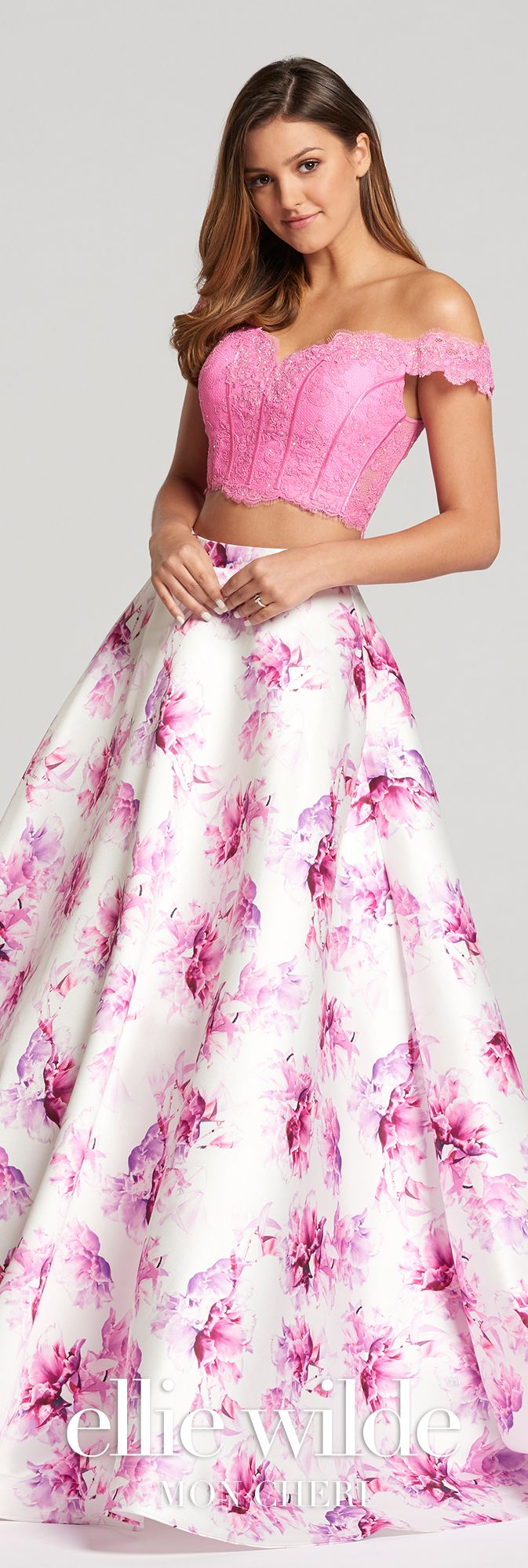 Two-Piece Off-The-Shoulder Printed & Lace Prom Dress- EW118178 ...