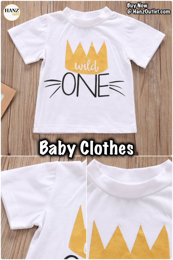 f9e46d1b8b69 Birthday Toddler Infant Newborn Kids Baby Boys Girls Unisex Clothes T-shirt  Tops Wild One