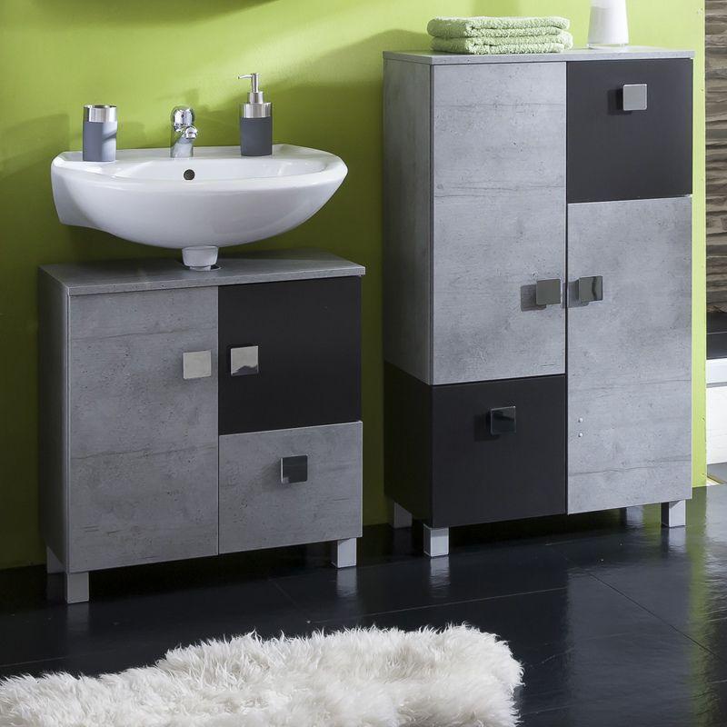 Badezimmer Waschbeckenschrank Set URBEN steingrau, anthrazit glanz - schränke für badezimmer